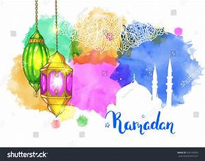 Mosque Night Arabic Lanterns Colorful Watercolor Stock ...