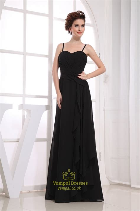 length black dress black chiffon floor length bridesmaid dress black chiffon Floor
