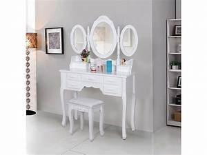 Coiffeuse 3 Miroirs : superbe coiffeuse blanche avec tabouret 7 tiroirs et 3 miroirs rabattables neuf sgrdt91w vente ~ Teatrodelosmanantiales.com Idées de Décoration