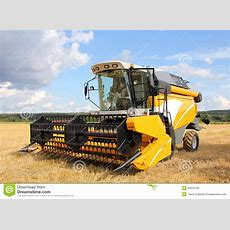 Modern Combine Harvester On Field Stock Image  Image