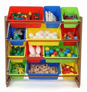 Tot, Tutors, Highlight, Collection, Kids, Wood, Toy, Organizer, With, 12, Plastic, Bins, Dark, Pine, U0026, Primary