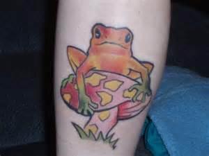 Frog On Mushroom Tattoo