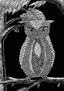 Owl illustration black and white pen illustration A5 print on