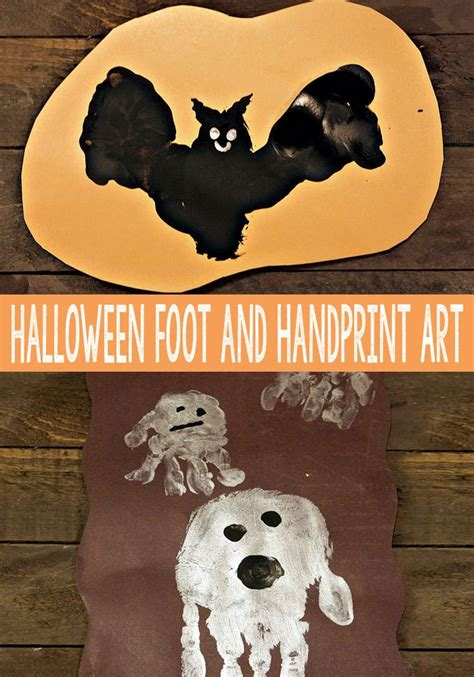 halloween handprint  footprint art easy peasy  fun
