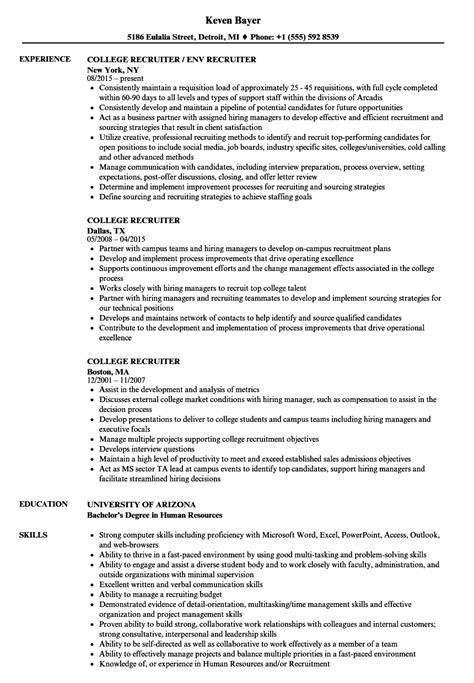 College Resume by College Recruiter Resume Sles Velvet