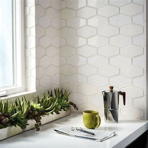 White Cabinets Dark Countertop Backsplash by 36 Eye Catchy Hexagon Tile Ideas For Kitchens Digsdigs