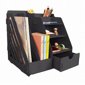 Minedecor, Wood, Desk, Organizer, Drawer, Trays, Office, Desktop, Large, Black