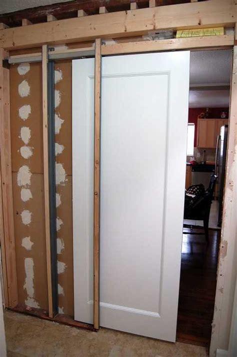 How Do I Install A Pocket Door In A New Wall  The Home. Fire Proof Doors. Westminster Door Chime. Antique Exterior Doors. French Door Refrigerator In Bisque Color. Craftsman Garage Storage. Exterior Mounted Roll Up Doors. Cat Door Lowes. Lawn Care Door Hangers