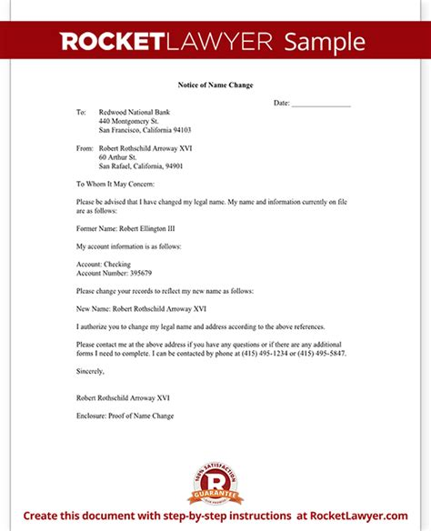 change notification letter  letter template