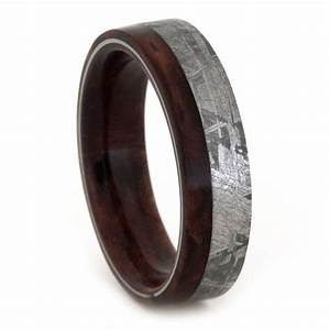 meteorite wedding band mens or womens wood ring with With mens wedding ring meteorite