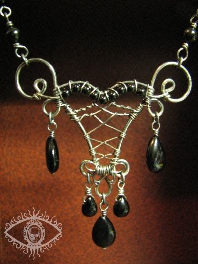 silver wirework pendant by eyescream gothic jewelry