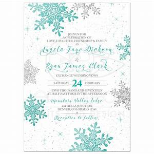 winter wedding invitation turquoise silver snowflake With fancy winter wedding invitations