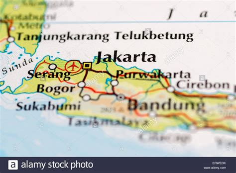 close   map  indonesia  jakarta stock photo