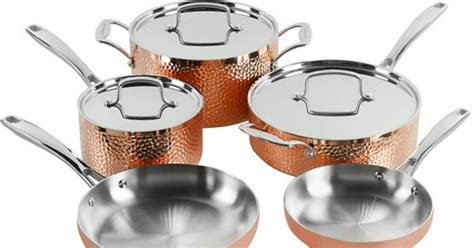 cuisinart tri ply hammered copper  piece cookware set