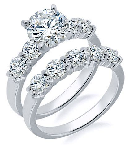 clearance cubic zirconia wedding ring bridal sets sale
