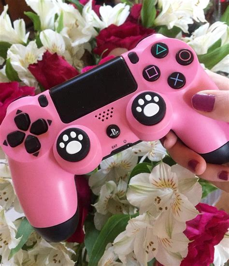 girl gamer pink ps controller  hope    fun  stress  weekend gamer room