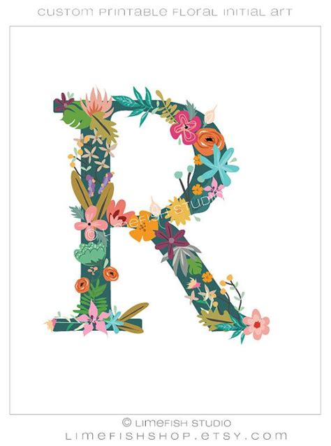 printable floral initial monogram  limefishshop  etsy
