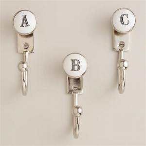 monogram letter hooks cost plus entryway and bath With letter shaped towel hooks