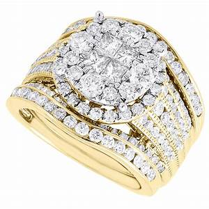 diamond bridal set ladies 14k yellow gold 3 piece princess With 3 piece gold wedding ring sets