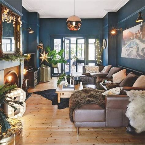 The Images Collection Of Navy And Copper Living Room 8
