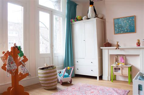 eclectic kids room  eggshell pink interiors  color