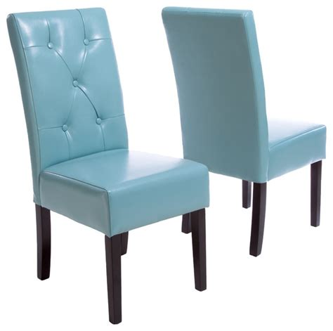 leather dining chairs set of 2 teal blue