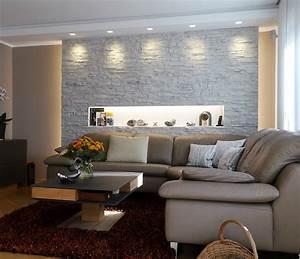Mauer Wand Wohnzimmer : wohnzimmergestaltung ~ Lizthompson.info Haus und Dekorationen