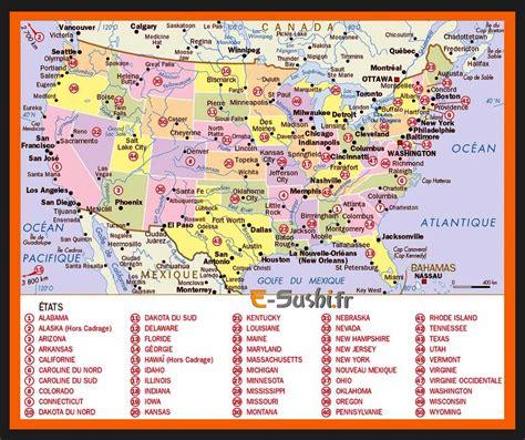 Carte Etats Unis Canada Avec Villes by Carte Etats Unis Villes Images Arts Et Voyages