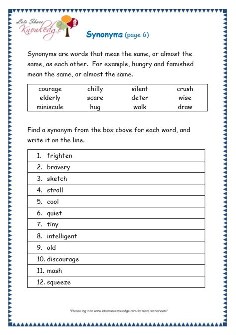 grade 3 grammar topic 27 synonyms worksheets lets share