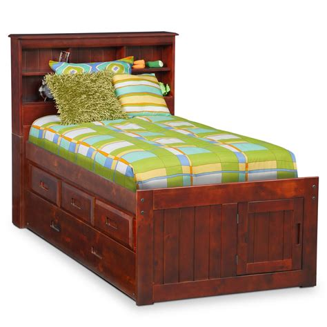twin bookcase storage bed ranger merlot twin bookcase bed with 3 drawer storage