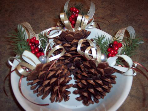 pine cone christmas craft set of 3 small christmas pine cone ornaments that i created pine cone projects pinterest