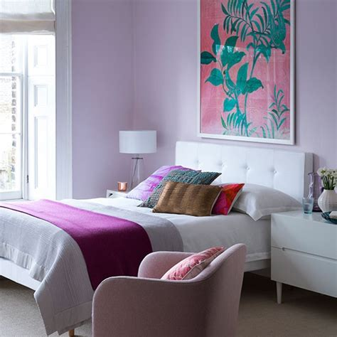 Pretty Lilac Bedroom With White Furniture Bedroom