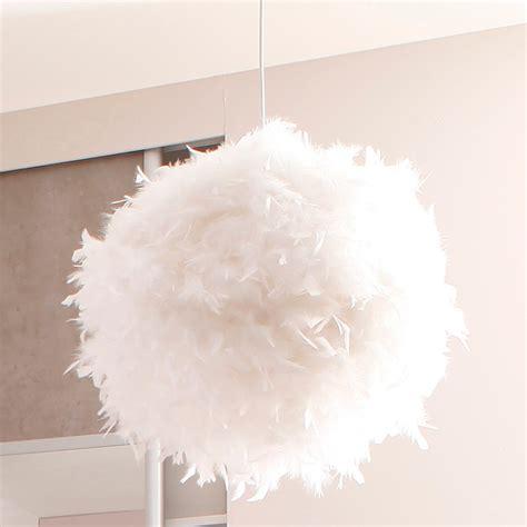 plafonnier chambre adulte suspension boule en plumes véritables cousues blanc