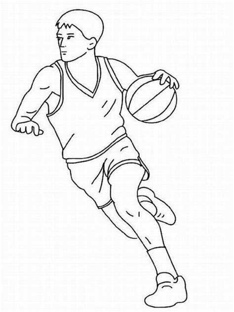 basketball player dribbling   coloring picture