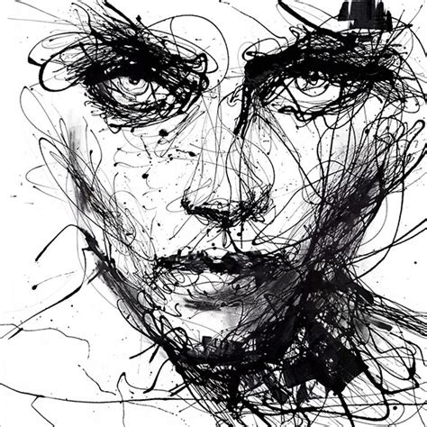 Abstract Faces Black And White by 18 Beautiful Abstract Drawings Free Premium