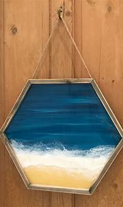 Layered Resin and Acrylic Beach Portal Painting (With ...