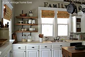 vintage home love reclaimed wood kitchen shelving reveal With kitchen cabinets lowes with french cafe wall art