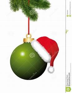 Boule De Noel Verte : boule verte de no l avec le chapeau de santa claus accrochant sur le sapin de no l image stock ~ Teatrodelosmanantiales.com Idées de Décoration