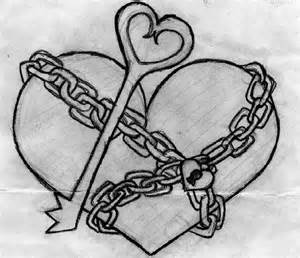 Heart with Key Drawing