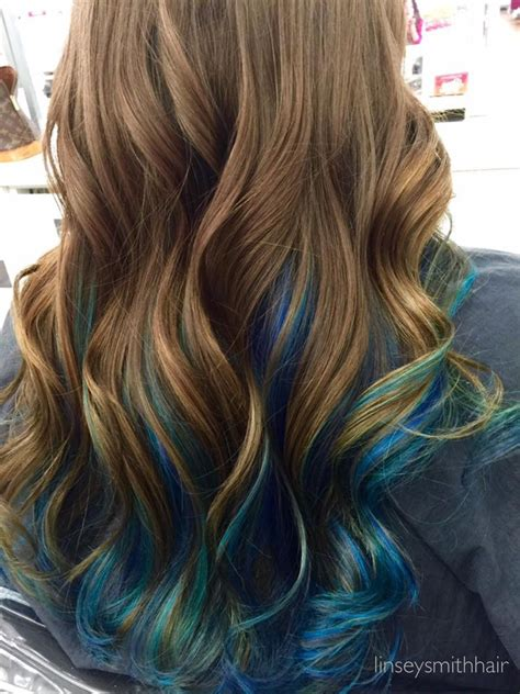 Brown Hair With Blue Peekaboos With Images Blue Hair