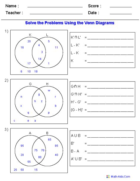 venn diagram worksheets set notation problems using two