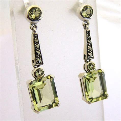 bijoux deco bijoux d 233 co boucles d oreilles argent quartz vert marcasites 165 bijoux anciens