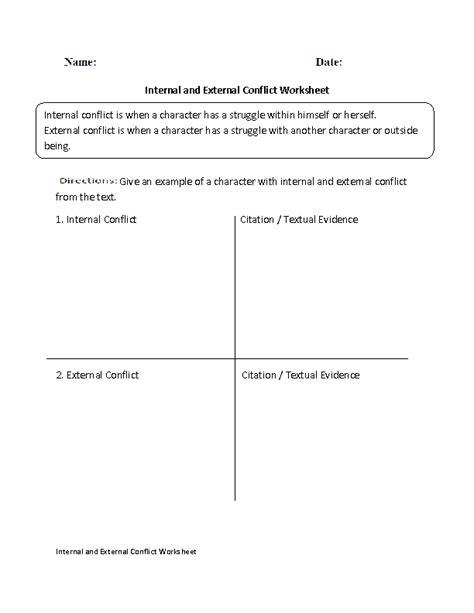 internal and external conflict worksheet englishlinx com