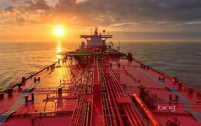 Oil Tanker Texas Galveston Near Ship Sunset