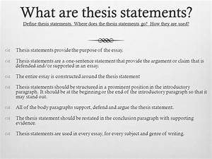 the purpose of a thesis statement