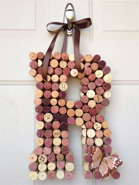 whimsical wine cork monogram custom letter home decor wine cork monogram wine craft cork crafts