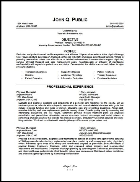Resume For Physical Therapist by Federal Physical Therapist Resume Sle The Resume Clinic