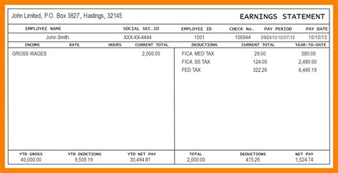 printable pay stub template free 5 print free paycheck stubs pay stub format