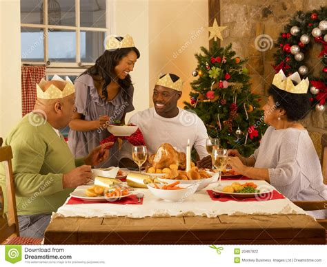 adult family  christmas dinner stock photography
