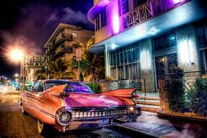 classic car, miami, pink, cadillac, car, night photography ...